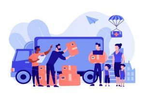 team-volunteers-giving-help-boxes-refuges-humanitarian-aid-van-humanitarian-aid-material-assistance-governmental-help-concept-pinkish-coral-bluevector-isolated-illustration_335657-1388
